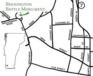Map to Bennington Battle Monument